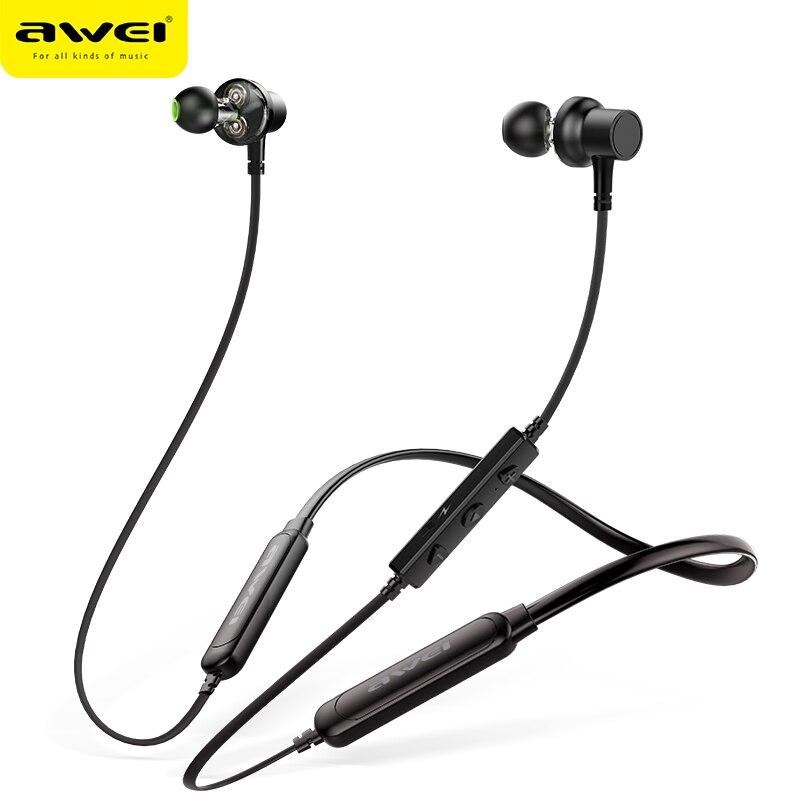 AWEI G20BLS Bluetooth Kopfhörer Drahtlose Kopfhörer Mit Mic Dual Fahrer 14 H Wiedergabe Noise Cancelling Headset Für iPhone Samsung