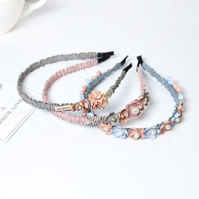 Koreański kwiat pałąk na strasy dla dziewczynek korona Hairbands wysokiej jakości kobiety i dziewczęta akcesoria do włosów strona ręcznie robiona biżuteria