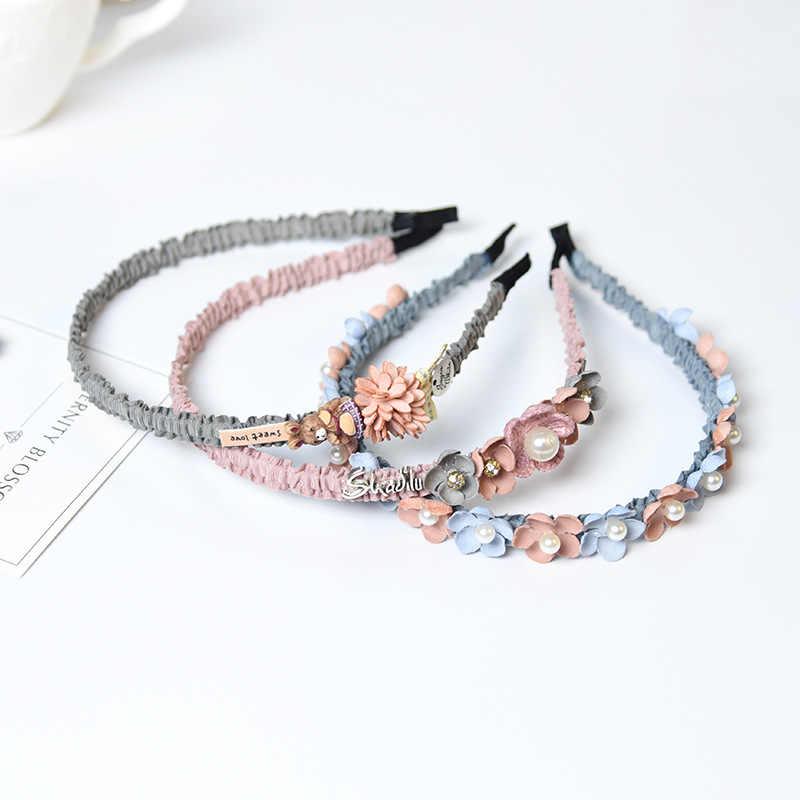 Korean Blume Stirnband Für Mädchen Strass Krone Hair Hohe Qualität Frauen & Mädchen Haar Zubehör Handgemachten Partei Schmuck