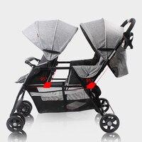 Двойняшки детские тележки T2 льна Материал передние и задние сиденья свет Алюминий трубы с двойной Близнецы каретки легкий зонт коляска