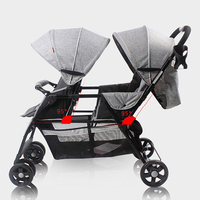 Twins Baby Trolley T2 Flax Material Front And Rear Seat Light Aluminum Tube Double Twins Carriage Lightweight Umbrella Stroller