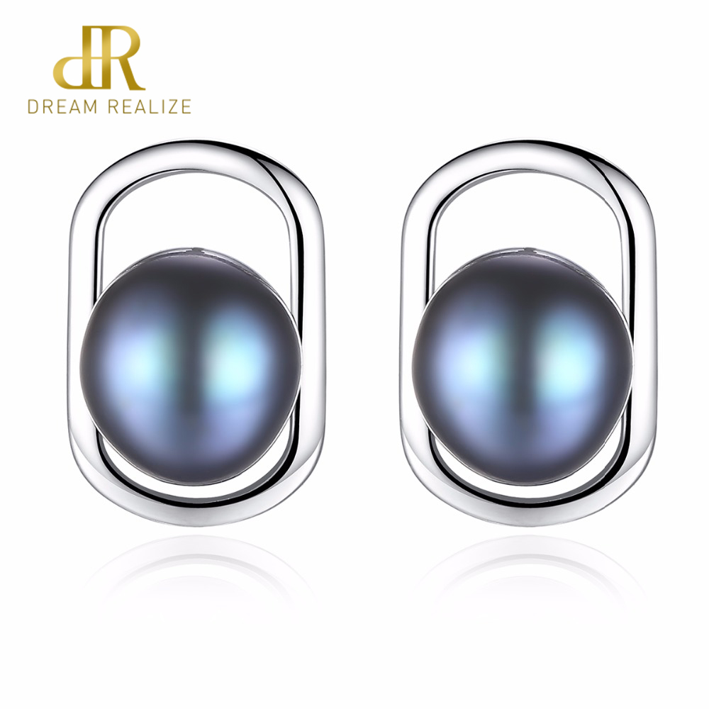 DR Brand Simple & Elegant 925 Sterling Silver Stud Earrings with Natural Freshwater Pearl 2 Colors Beautiful Birthday Gift
