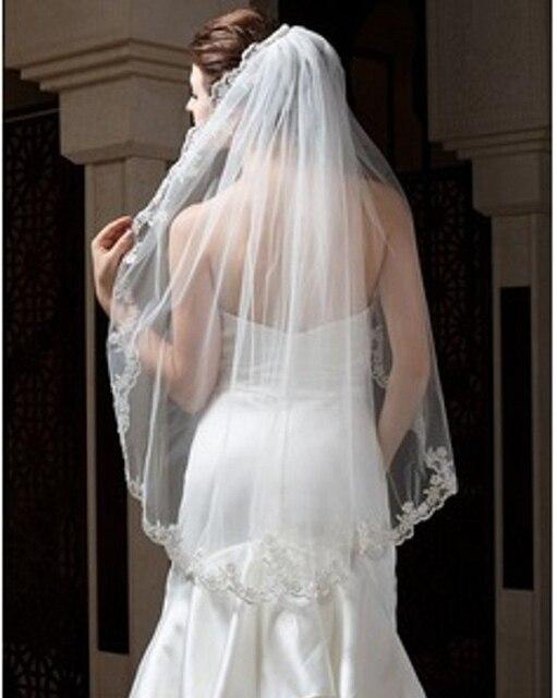 Elegant One-tier Fingertip Length Wedding Dress Veil Bridal Veils With Lace Applique Edge For Bride