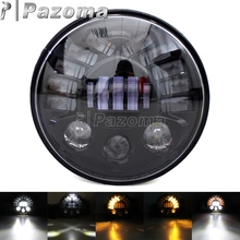 Black LED 7 inch Round Headlight High Low Beam for Jeep Wrangler JK Hummer LJ Unlimited Touring Softail FLD 80w 7 inch round led headlight with drl high low beam for jeep wrangler 97 2017 jk tj lj jku rubicon sahara hummer h1 h2