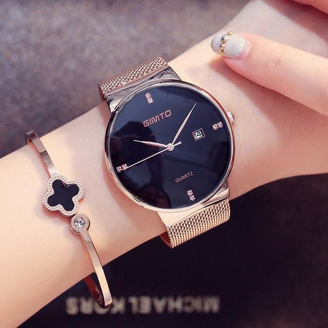 Роскошные gimto Модные женские Часы розовое золото Для женщин Часы элегантный минимализм со стразами Повседневное черные женские Водонепроницаемый часы