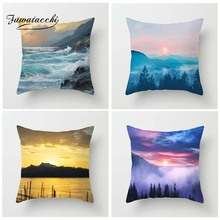 Fuwatacchi Scenic Cushion Cover Forest Cloud River Fireworks Pillow Case Flower Home Decorative Pillows Cover For Sofa Car