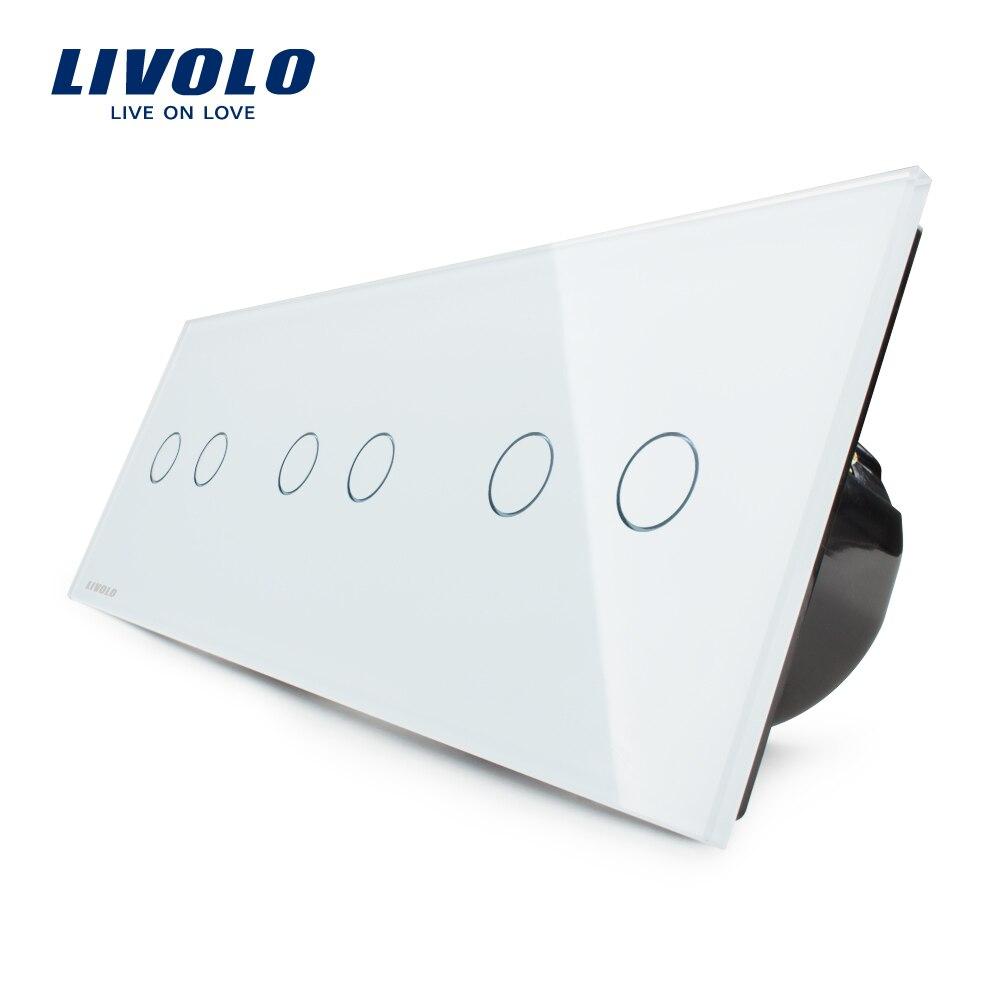 Livolo UE Standard, tactile Interrupteur, livraison Combinaison De Luxe Mur Triple Interrupteur de Lumière, VL-C706-11, Avec Panneau Verre Cristal Blanc