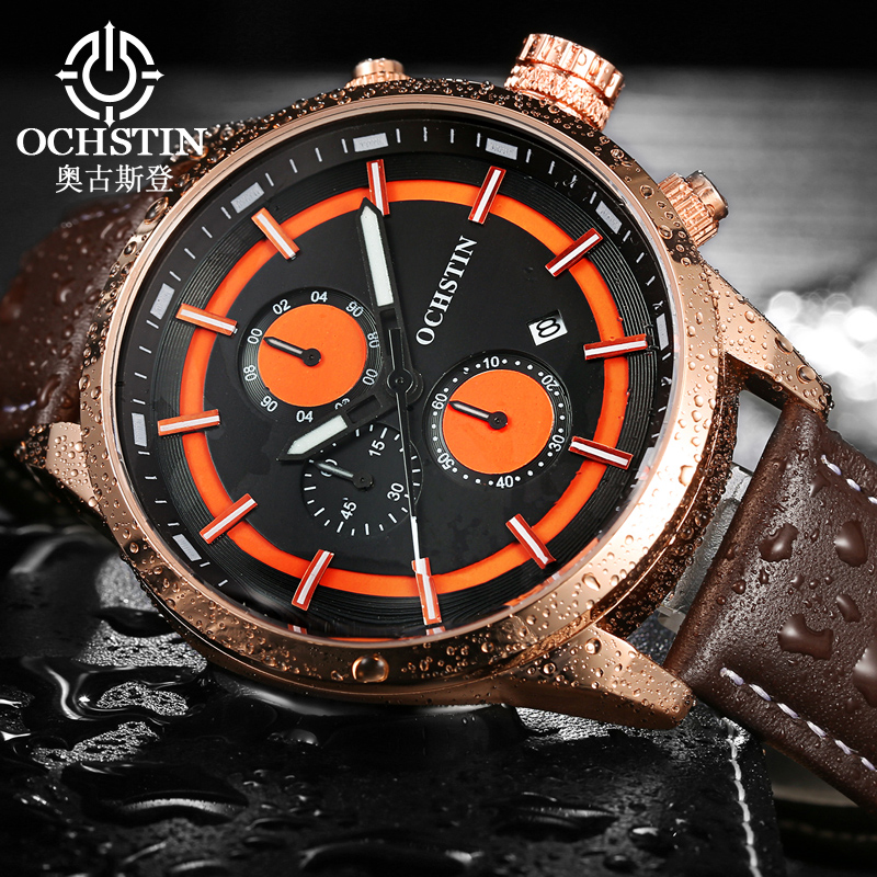 OCHSTIN Sport Watches Men Top Luxury Brand Watch Men Army Military Watches Clock Male Lether Quartz-Watch Relogio Masculino xinge top brand luxury leather strap military watches male sport clock business 2017 quartz men fashion wrist watches xg1080