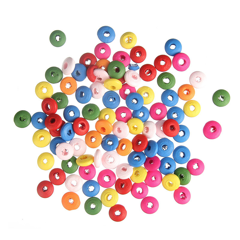 200pc/<font><b>lot</b></font> Painted Colorful Flat Round 5x10mm Abacus Unfinished Wooded Spacer Beads for DIY <font><b>Jewelry</b></font> Making Kids <font><b>Fun</b></font> Craft suppl image