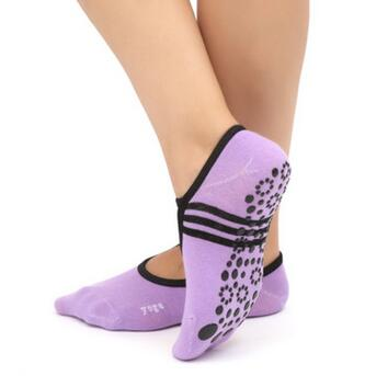 1pair/lot free shipping Women Anti Slip Bandage Cotton Sports Yoga Socks Ballet Socks Dancing Sock