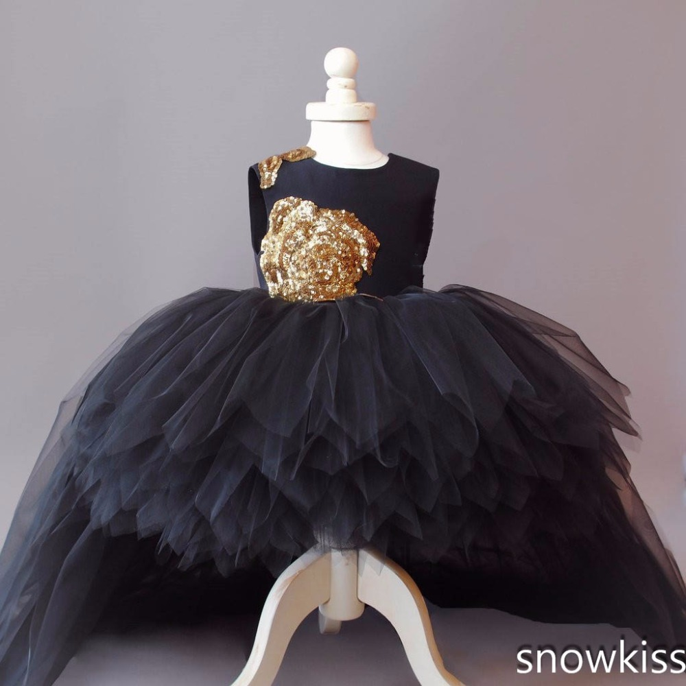 4b7c3fd463de 2018 black puffy tulle high low flower girl dress for wedding bling gold  sequin open back baby 1 year birthday party prom dress-in Dresses from  Mother ...
