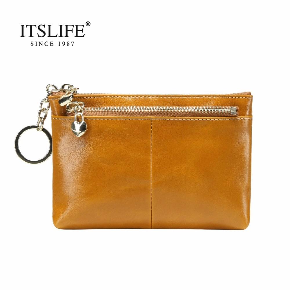 Nya kvinnor äkta läder Minisäck läder mynt handväska olja vax läder nyckeln plånbok huvudet cowhide pengar hållaren blixtlås byta plånbok