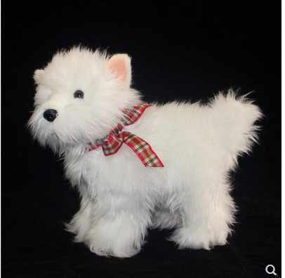 22cm Kawaii symulacji mały biały pies zabawki pluszowe miękkie stały wersja nadziewane zabawki lalki dla dzieci prezent