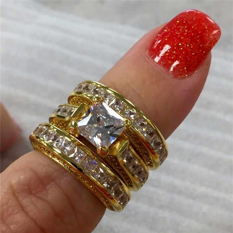 Leuke Vrouwelijke Grote Zirkoon Ring Set Crystal 925 Zilver Geel Goud Bridal Ring Bruiloft Sieraden Belofte Engagement Ringen Voor Vrouwen