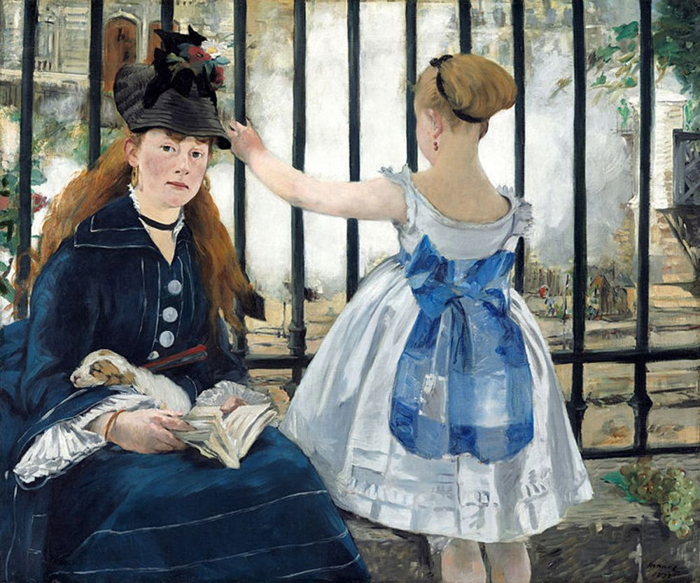Gallery Quality Art The Railway by Edouard Manet Oil Painting on Canvas Living Room Wall Art No Frame Classic
