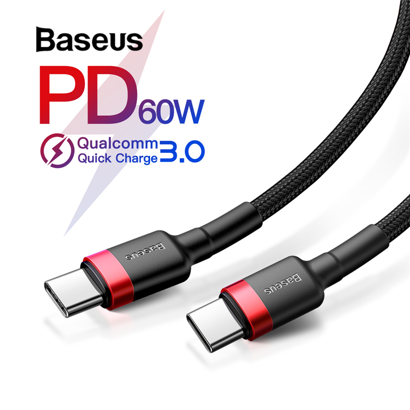 Baseus USB Type C to USB Type C Cable for Samsung Galaxy S9 Plus Support PD 60W QC3.0 3A Quick Charge Cable for Type-C Devices(China)