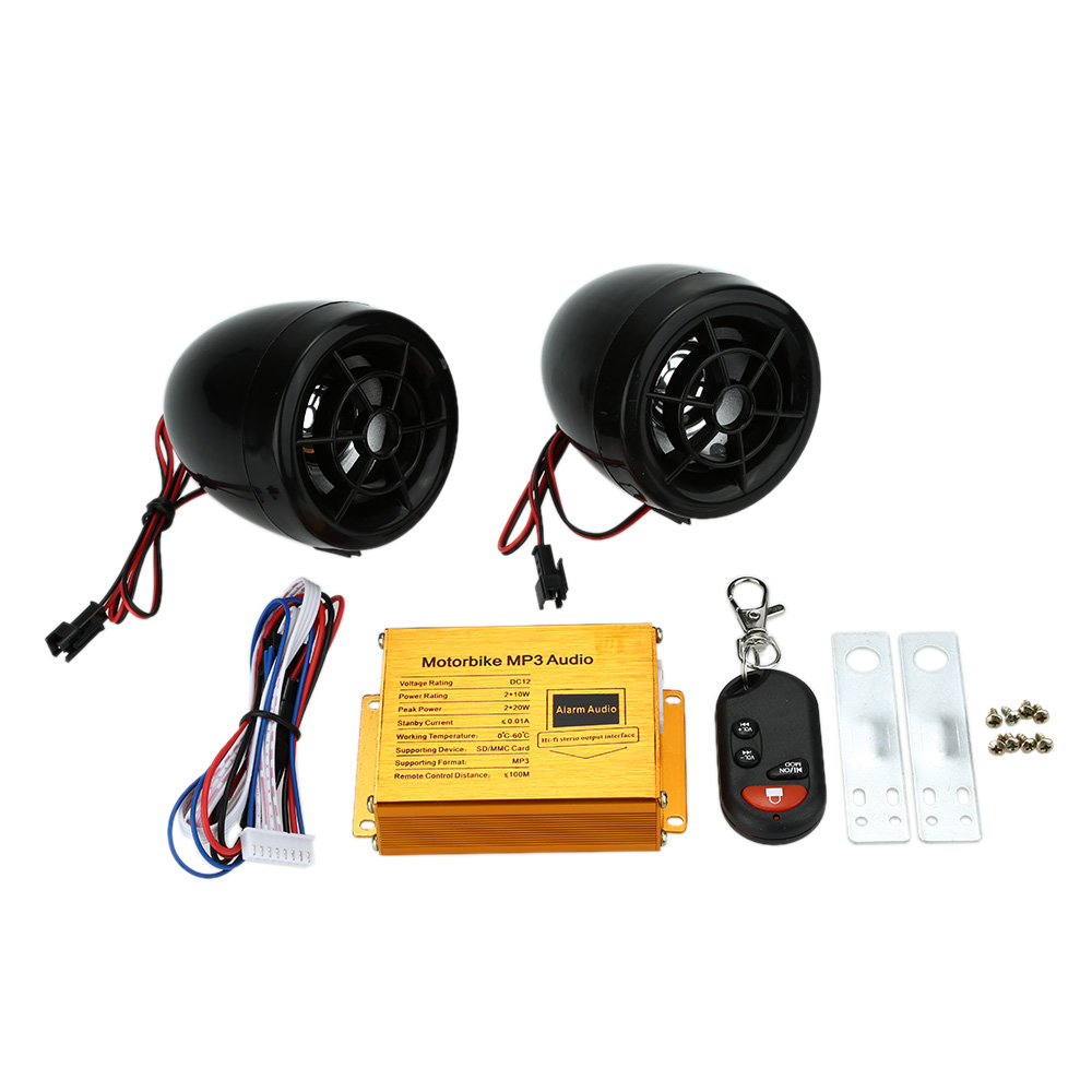 Motorcycle MP3 Player Speakers font b Audio b font Sound System FM Radio Security Alarm Wireless
