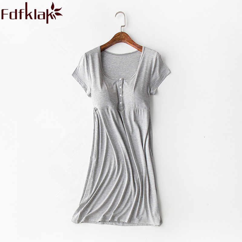 Fdfklak Modal Nightgown Nightie For Nursing 2018 Summer Dresses For Pregnant Women Maternity Nightwear Nursing Sleepwear F239