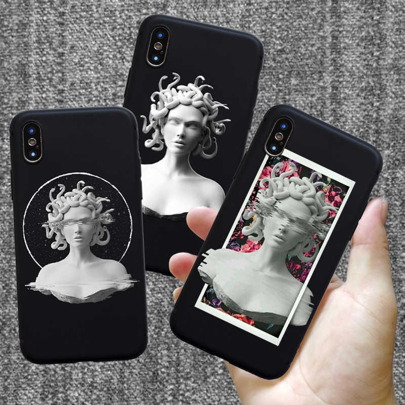 Lembut Silikon untuk iPhone 7 Case Medusa Vaporwave Seni Kesalahan Coque PHONE UNTUK iPhone 11 Pro 5 S SE 6 6 S 8 Plus X S R Max Case Cover