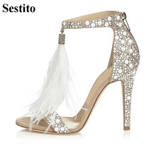 цена на Fashion White Feather Crystal Sandals Peep Toe 10 cm Thin Heels Party Women Sandals Zip Cover Heel Summer Wedding Women Shoes