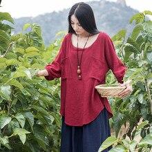 Summer style Plus size Solid Linen Women Blouse Shirt Loose Casual Mori girl Vintage Shirt Brand Design Linen Blouses Tops B049