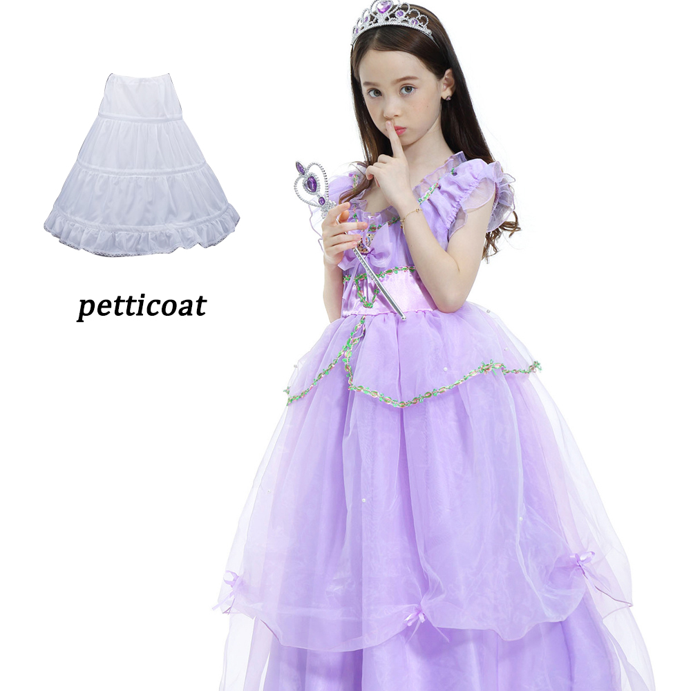 Purple Children Cinderella Sofia Dress dresses for girls Princess Rapunzel Dresses Kids Cosplay Costume Party Long Dress 4-12Y купить