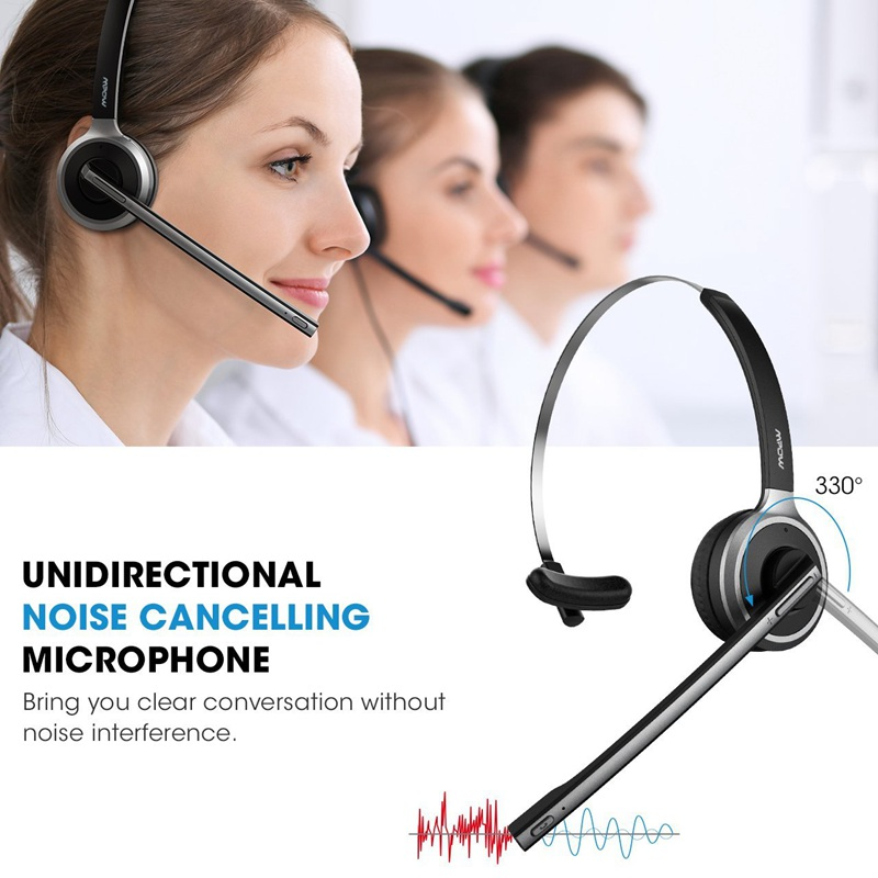 Truck Driver On Ear Bluetooth Headphones for Cell Phone vtin Trucker Bluetooth Headset//Office Wireless Headset with Mic Handsfree Over The Head Earpiece Call Center Skype