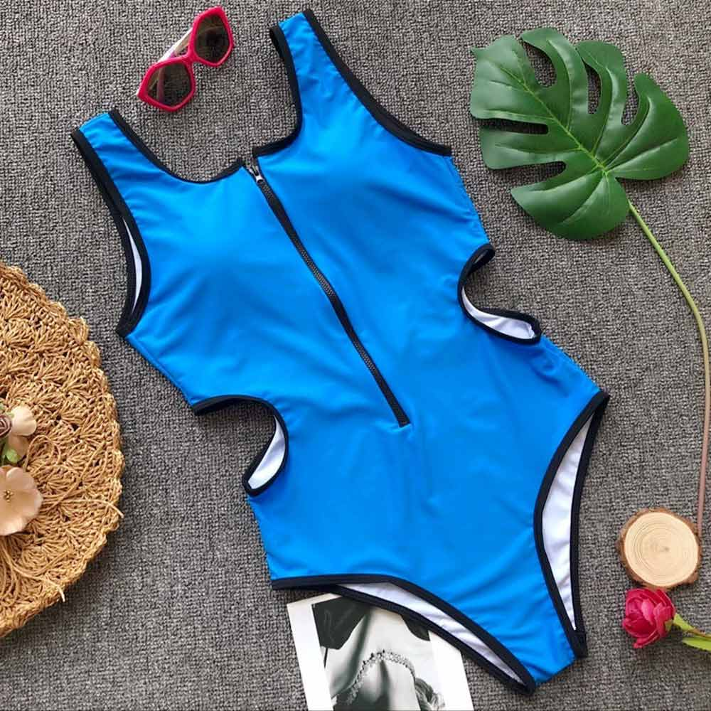 2019 Women Swimsuit Zipper One-Piece Swimwear Solid Hollow Out Monokini Sexy Backless Bathing Suit Swimming Suit Maillot De Bain