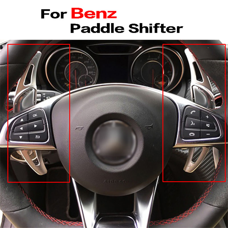 Savanini 2pcs Alloy Add-On Steering Wheel DSG Paddle Shifters Extension For Benz AMG A45 CLA45 C63 S63 GLA45