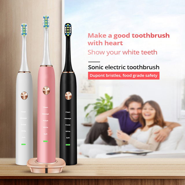 Tongwode Sonic Electric Toothbrush Adult Timer Brush USB Rechargeable Electric Tooth Brushes with 2pc Replacement Brush Head