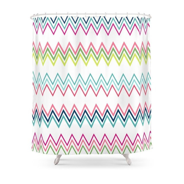 Modern Pink Coral Green Geometrical Zigzag Chevron Shower Curtain