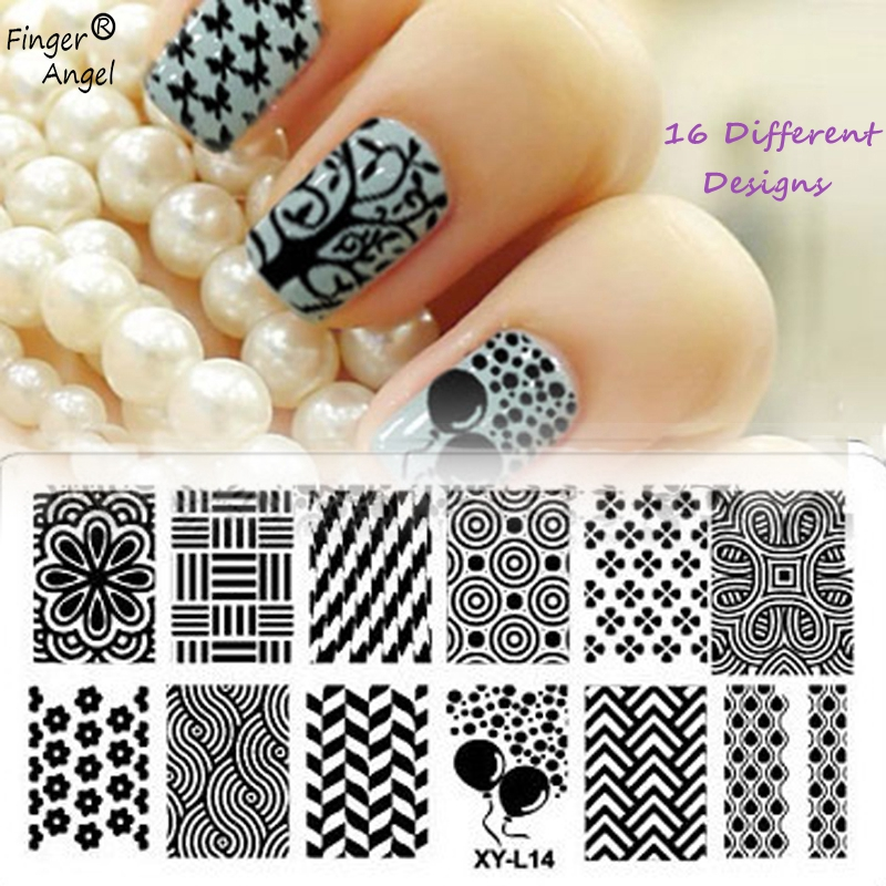 Finger Angel 16PCS/lot Nails Stamping Plates Plastic Nail Stamp Image Stamping Template #WJ029