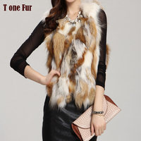 Women Real Fox Fur Vest Winter Gilet new fashion red fox jacket fur Coat outwear waistcoat TP121