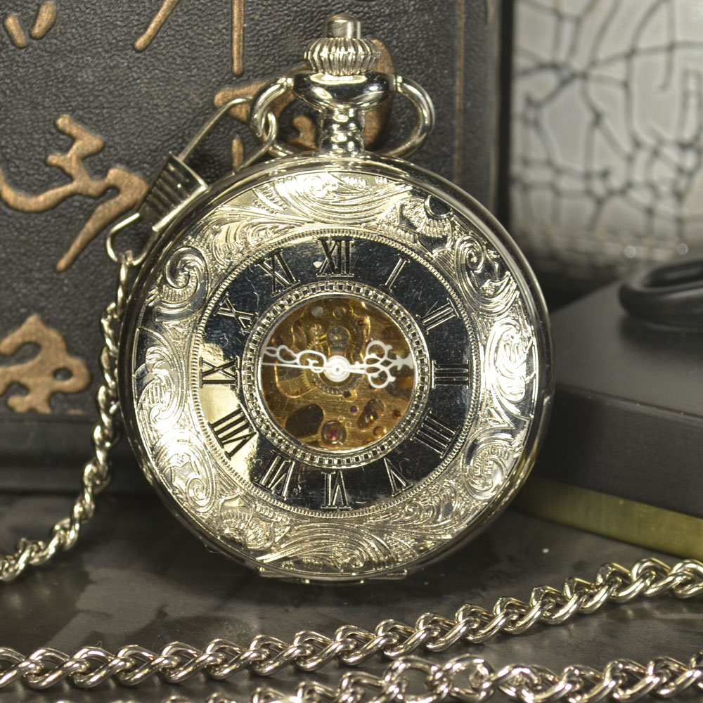 TIEDAN Pocket Watch Men Steampunk Luxury Fashion Antique Chain Necklace Roman Numerals Skeleton Mechanical Pocket Fob Watches dad pocket fob watches chain luxury black