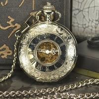 TIEDAN Pocket Watch Men Steampunk Luxury Fashion Antique Chain Necklace Roman Numerals Skeleton Mechanical Pocket Fob Watches