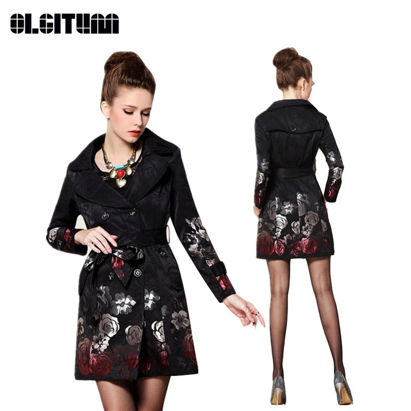 2018 Hot Sale Woman Windbreaker Floral Trench Coat Rose Jacquard Embroidered Long Trench Coat TR061