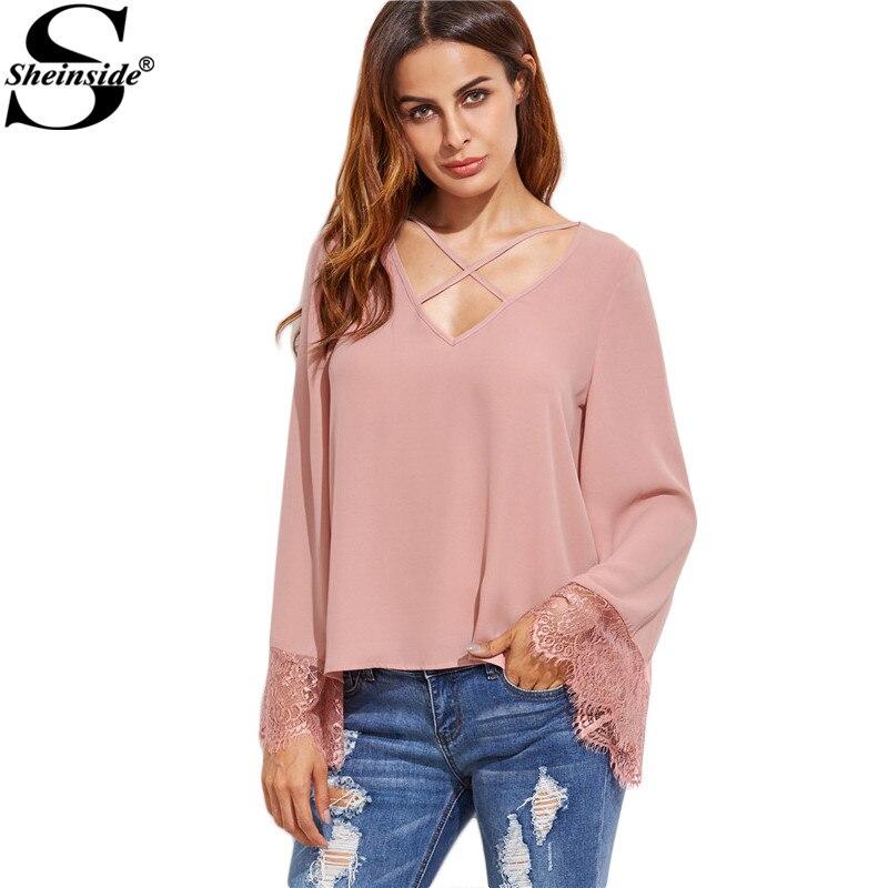 Sheinside Women Full Sleeve Shirts Blouses Korean Fashion Style Women Clothes Pink Crisscross V Neck Lace