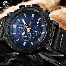 цена на 2018 Hot OCHSTIN Men Military Quartz Watch Chronograph Mens Watches Top Brand Luxury Leather Strap Sports Wristwatch Male Clock