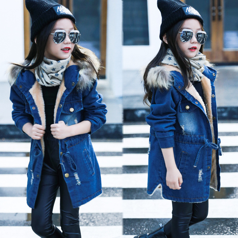 2018 Children kids girls denim jacket large fur collar cotton denim outerwear tops Autumn Winter Basic cowboy jacket for girls