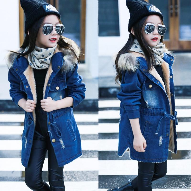 2018 Anak anak perempuan denim jaket besar kerah bulu katun koboi jaket denim pakaian luar tops Musim Gugur Musim Dingin untuk anak perempuan
