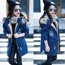 2016 Children kids girls denim jacket large fur collar cotton denim outerwear tops Autumn Winter Basic cowboy jacket for girls недорого