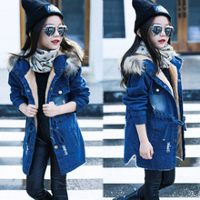 2020 Children kids girls denim jacket large fur collar cotton denim outerwear tops Autumn Winter Basic cowboy jacket for girls