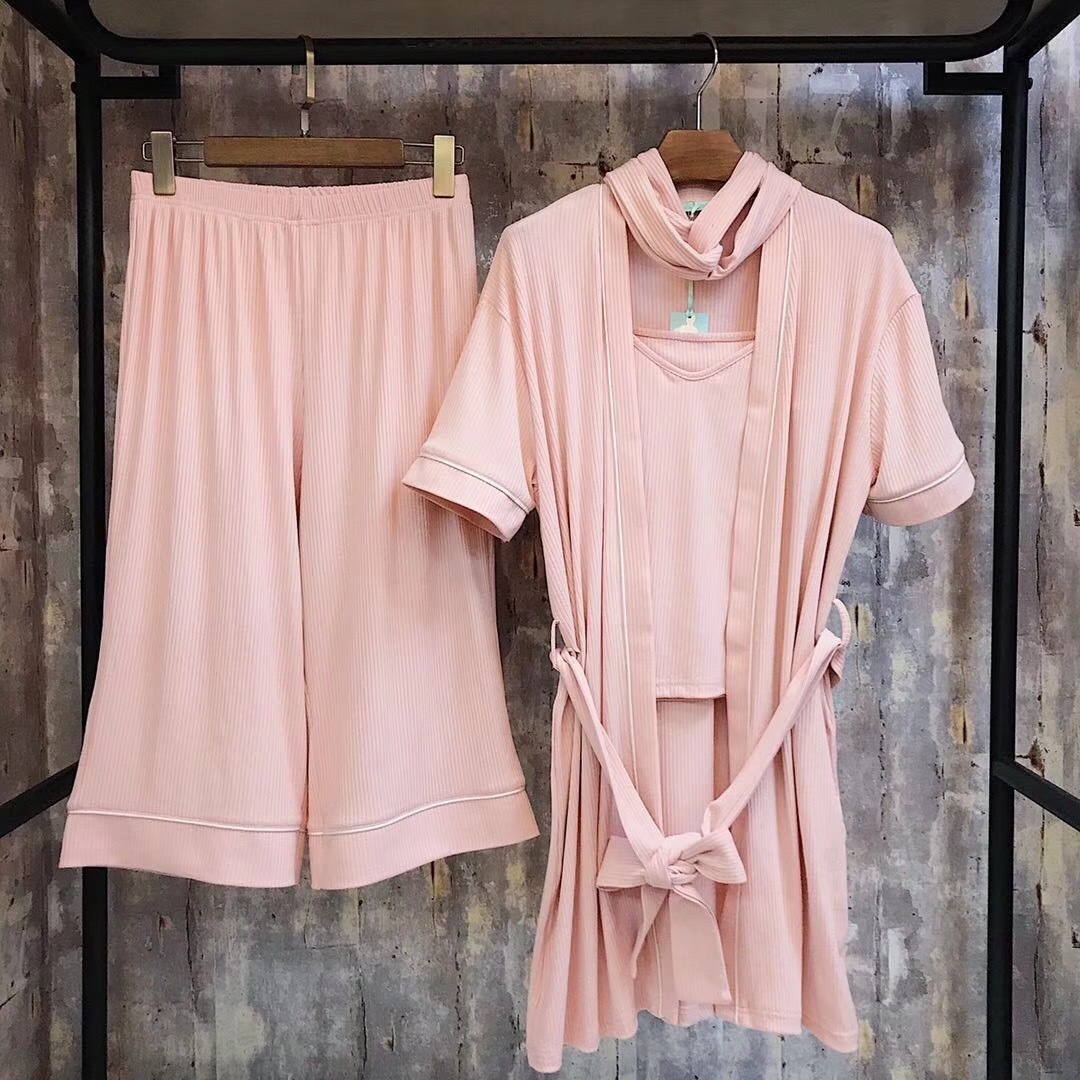 New Arrivals Homewear Women Pit Bar Solid Color Nightgowns Comfortable Four Pajama Sets Sleepwear Panic Buying