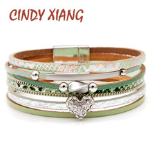 CINDY XIANG New Arrival Rhinestone Heart Leather Bracelets For Women Summer Style Fashion Cuff Bangles Wide Bracelet Good Gift недорого