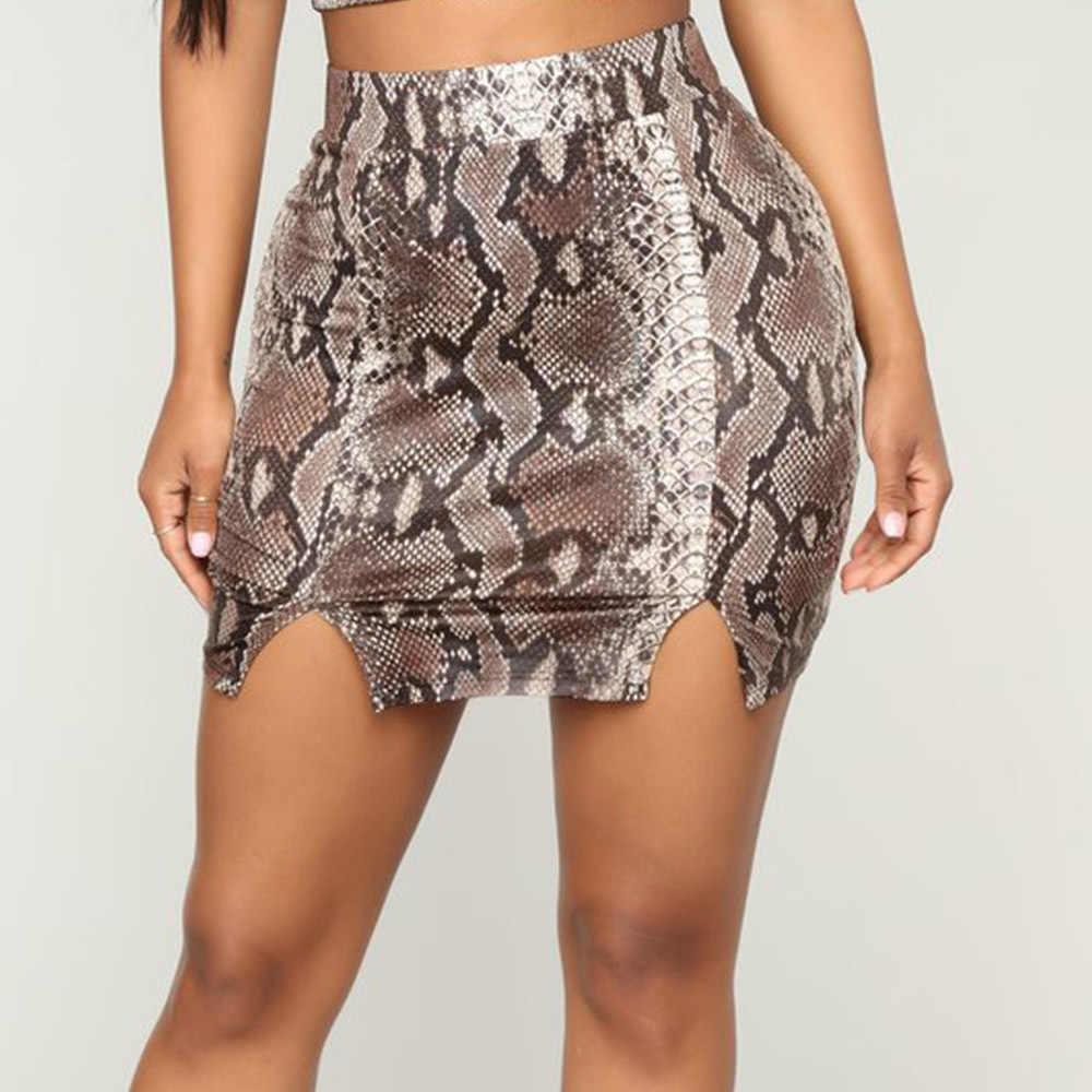 a4e3a5ce542 Kimuise Vintage Snake Print Bandage High Waist Women Skirt Female Autumn  Skirts Split Mini Sexy Ladies