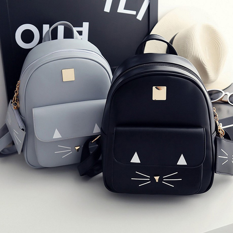 High Quality PU Leather Backpack Women Large Capacity Portable Travel Backpacks Cute Cat Prints Girl School Bags New Back pack 2018 hot new travel sack designer backpack women back pack school girl cotton canvas diamond lattice backpacks green oxford bags