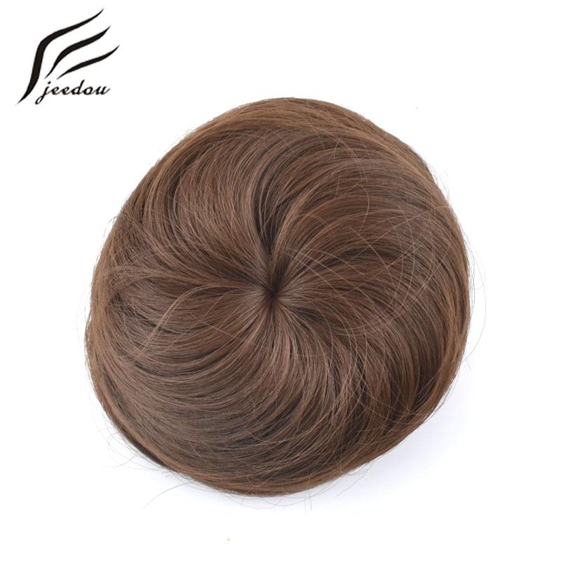1 copë jeedou Q3 Sintetike me temperaturë të lartë fibër flokësh të drejtpërdrejtë me flokë chignon në flokë Bun Donut Roller Hairpieces flokëverdhë