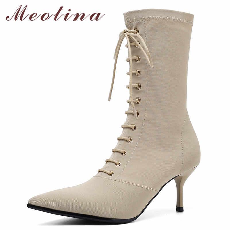 Meotina femmes bottes automne mi-mollet bottes Slim Stretch mince talon élastique bottes à lacets extrême chaussures à talons hauts femme taille 34-39