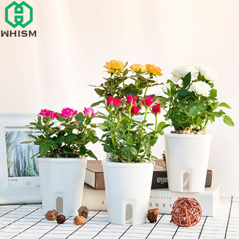 HQ Flower Pot Plant Rattan Style Planter Flower pot Plants pots 40 cm White