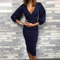 Women 2019 Elegant Fashion Wrap Blue Going Out Party Dresses Stylish Deep V Neck Lantern Sleeve Midi Dress